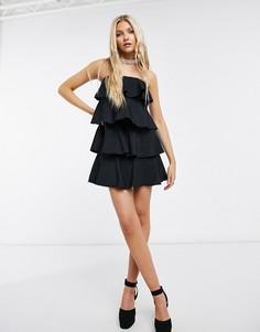 Черное ярусное платье мини Never Fully Dressed-Черный цвет