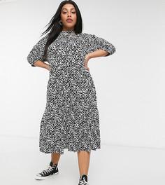 Платье миди с ярусной юбкой и монохромным звериным принтом Wednesdays Girl Curve-Черный цвет