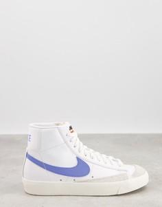 Бело-голубые кроссовки средней высоты Nike Blazer Mid 77-Белый