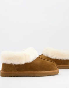 Коричневые слиперы из овечьей шкуры Redfoot-Светло-коричневый