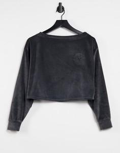 Комбинируемый велюровый свитшот темно-серого цвета с открытыми плечами ASOS DESIGN-Серый