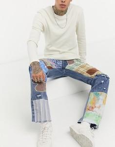 Голубые джинсы в стиле пэчворк Jaded London-Голубой