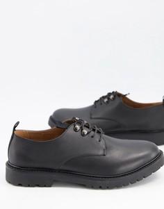 Черные кожаные туфли на шнуровке с застежкой на крючки H by Hudson Grizedale-Черный цвет