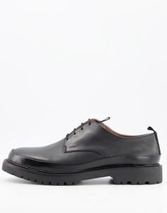 Черные кожаные туфли на шнуровке с дакоративным швом H by Hudson Thetford-Черный цвет