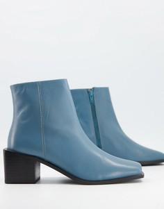 Кожаные ботинки на каблуке с квадратным носком пыльно-голубого цвета ASOS DESIGN Refresh-Голубой