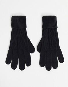"""Трикотажные перчатки с узором """"в косичку"""" Boardmans-Черный цвет"""