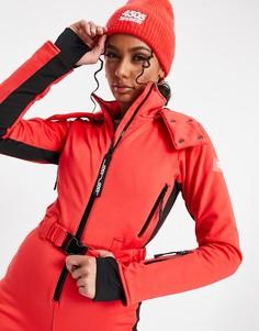 Горнолыжный комбинезон с капюшоном и поясом с полосками по бокам ASOS 4505-Красный