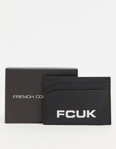 """Кожаная кредитница с логотипом """"FCUK"""" French Connection-Черный цвет"""
