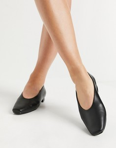 Черные туфли на плоской подошве с высоким вырезом спереди RAID Penny-Черный цвет