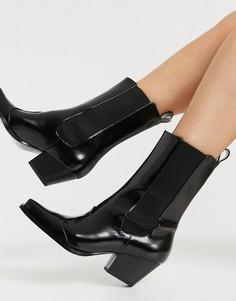 Черные ботинки в стиле вестерн из искусственной кожи с квадратным носом Monki Lexi-Черный цвет