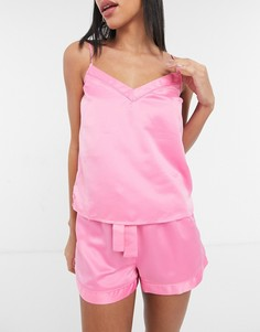 Светло-розовая атласная пижама с шортами New Look-Розовый цвет