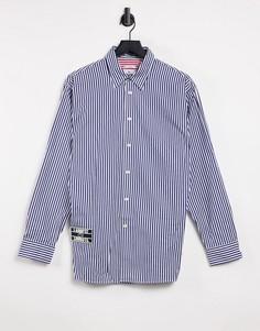 Хлопковая полосатая рубашка свободного кроя в стиле унисекс Lacoste-Темно-синий