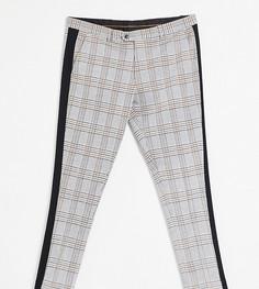 Зауженные брюки в клетку с полосой по бокам Devils Advocate Plus-Черный цвет