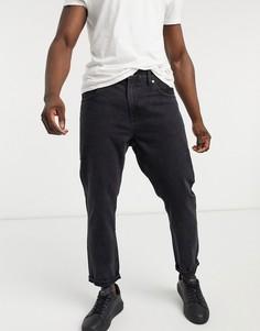 Черные выбеленные джинсы прямого кроя в винтажном стиле Bershka-Черный