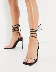 Черные босоножки на каблуке с завязкой на щиколотке Simmi London Sina-Черный цвет