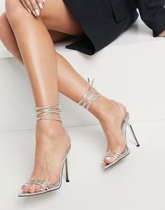 Серебристые босоножки на каблуке с ремешками, заостренным носком и змеиным принтом ASOS DESIGN Nadine-Серебристый