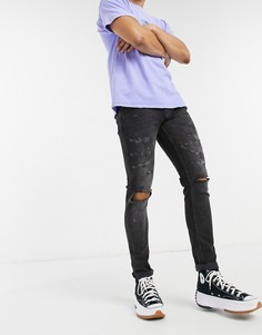 Черные джинсы скинни с рваной отделкой Topman-Черный цвет