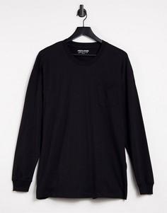 Черный свободный лонгслив Jack & Jones Core-Черный цвет