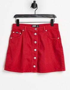 Красная джинсовая юбка-трапеция мини с контрастными пуговицами Minga London-Красный