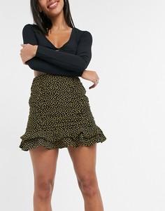 Присборенная юбка черного цвета с принтом желтых сердечек Collective the Label (от комплекта)-Многоцветный
