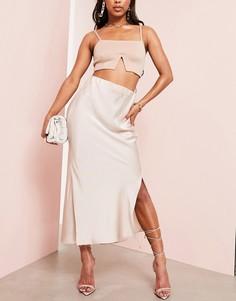 Нежно-розовая атласная юбка миди с разрезами ASOS LUXE-Кремовый
