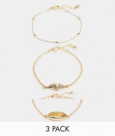 3 золотистых браслета с подвесками в виде ракушек ASOS DESIGN-Золотой
