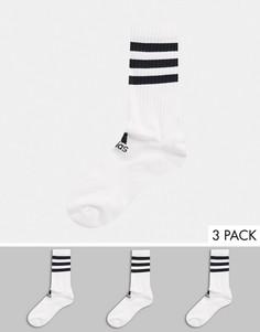 Набор из 3 пар белых носков до щиколотки с 3 полосками adidas Training-Белый