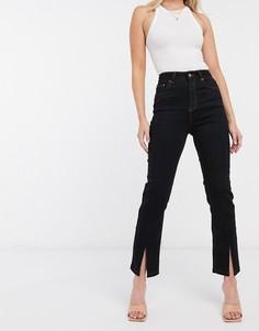 Черные джинсы-сигареты с завышенной талией ASOS DESIGN-Черный