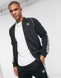 Черная спортивная куртка с тремя полосками adidas Originals adicolor-Черный