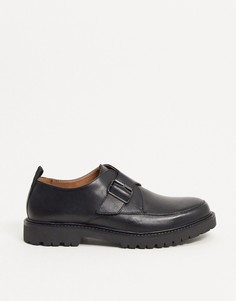 Черные кожаные туфли со шнуровкой на массивной подошве H by Hudson-Черный цвет