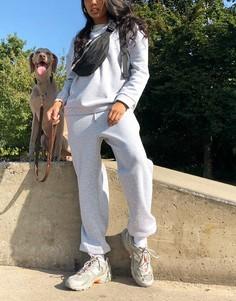 Серыймеланжевый спортивный костюм с джоггерами и свитшотомASOS DESIGN