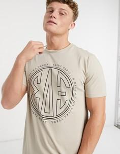Светло-бежевая футболка узкого кроя с принтом River Island-Светло-бежевый