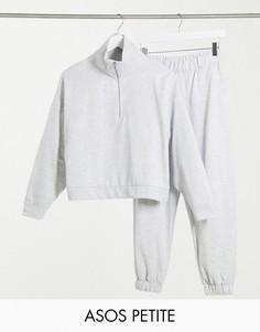 Спортивный костюм из свитшота с короткой молнией и джоггеров ASOS DESIGN Petite-Серый