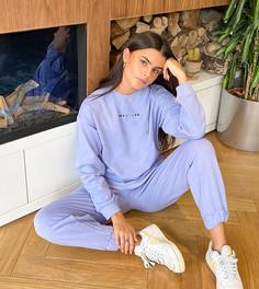 Лавандовый спортивный oversized-костюм со свитшотом и джоггерами с графическим принтом ASOS DESIGN Petite-Фиолетовый