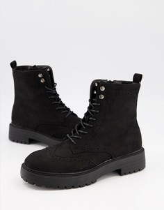 Черные замшевые броги на плоской подошве и шнуровке Schuh Anabelle-Черный цвет