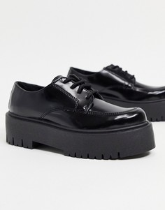 Черные лоферы на платформе со шнуровкой Topshop-Черный цвет
