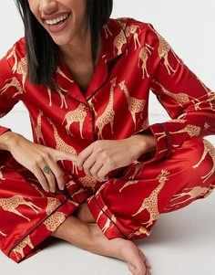 Красная пижама с рубашкой и брюками с принтом жирафов Chelsea Peers-Красный