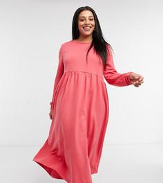 Коралловое длинное платье-свитшот с присборенной юбкой Urban Threads Curve-Оранжевый цвет