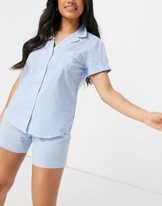 Голубая пижама в клетку с шортами и рубашкой с лацканами Lauren by Ralph Lauren-Голубой