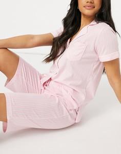 Розовая пижама в полоску с шортами-бермудами и рубашкой с лацканами Lauren by Ralph Lauren-Розовый цвет