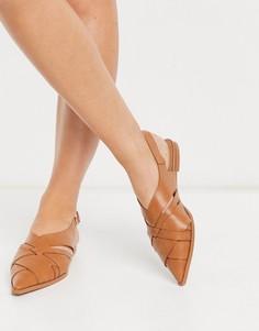 Светло-коричневые туфли на плоской подошве с ремешком через пятку и декоративными вырезами ASOS DESIGN Mazed-Светло-коричневый