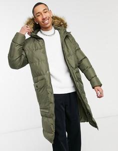 Удлиненная дутая куртка цвета хаки c капюшоном с отделкой из искусственного меха Soul Star-Зеленый цвет