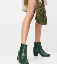 Темно-зеленые ботинки челси для широкой стопы на каблуке Glamorous-Зеленый цвет