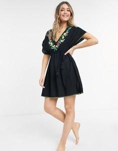 Черное пляжное платье-туника с вышивкой Figleaves Seville-Черный цвет