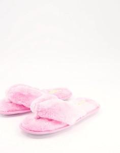 Розовые слиперы с перемычкой между пальцами из искусственного меха Truffle Collection-Розовый цвет