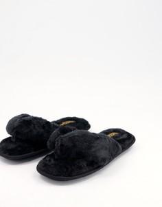 Черные слиперы из искусственного мехаTruffle Collection-Черный цвет