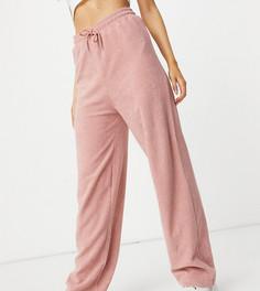 Эксклюзивные махровые брюки светло-розового цвета со шнурком New Girl Order (от комплекта)-Розовый цвет