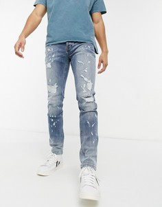 Светлые выбеленные джинсы скинни с рваной отделкой Topman-Голубой