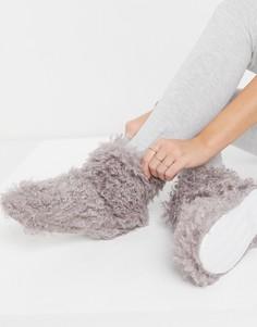 Слиперы-ботиночки коричневого цвета из пушистого искусственного меха Loungeable-Коричневый цвет