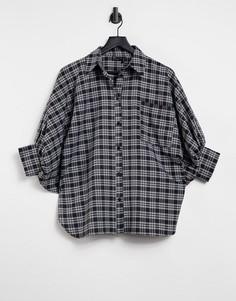 Oversized-рубашка в монохромную клетку с рукавами «три четверти» ASOS DESIGN-Многоцветный
